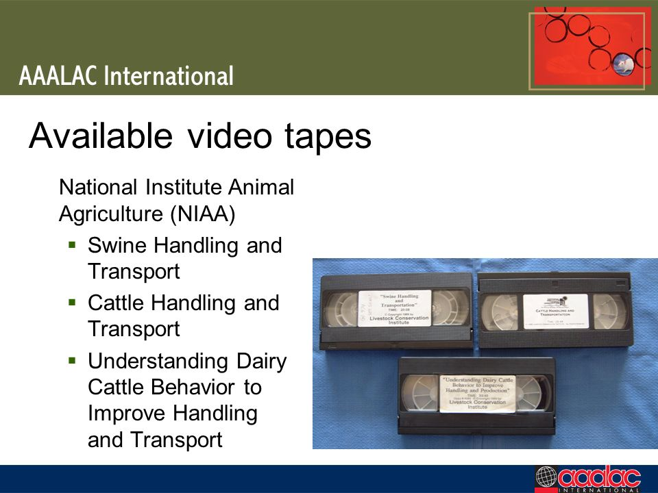 Available video tapes National Institute Animal Agriculture (NIAA)