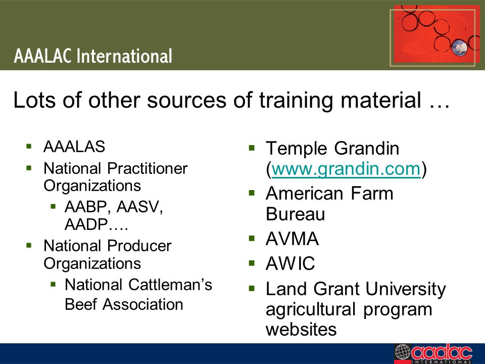 Lots of other sources of training material …