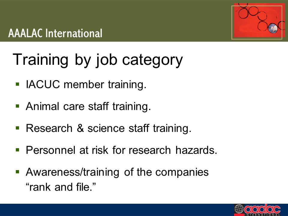 Training by job category