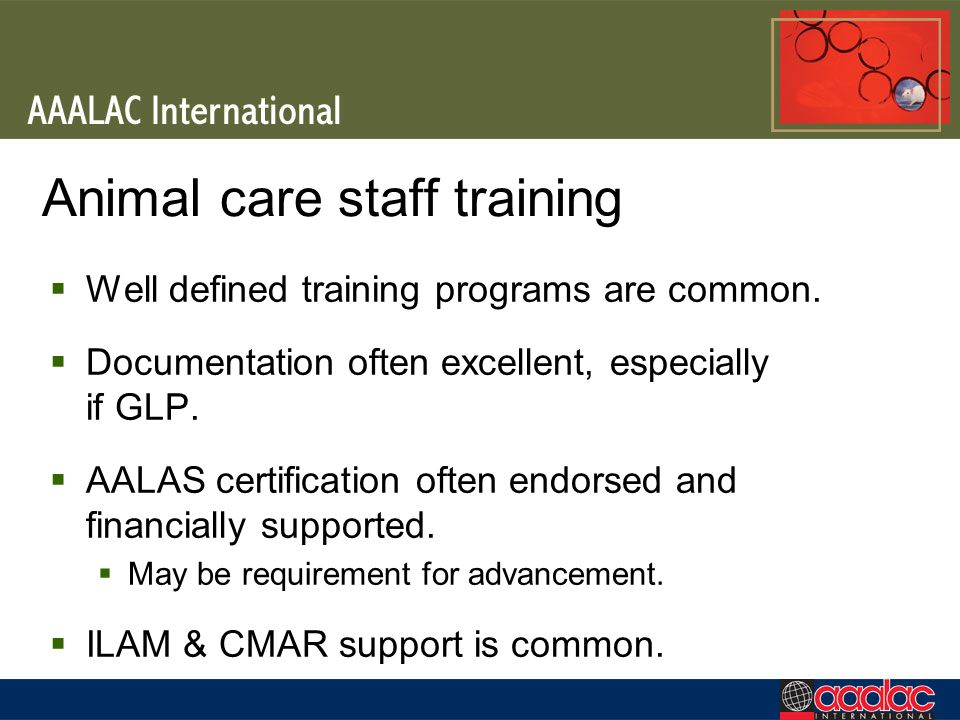 Animal care staff training