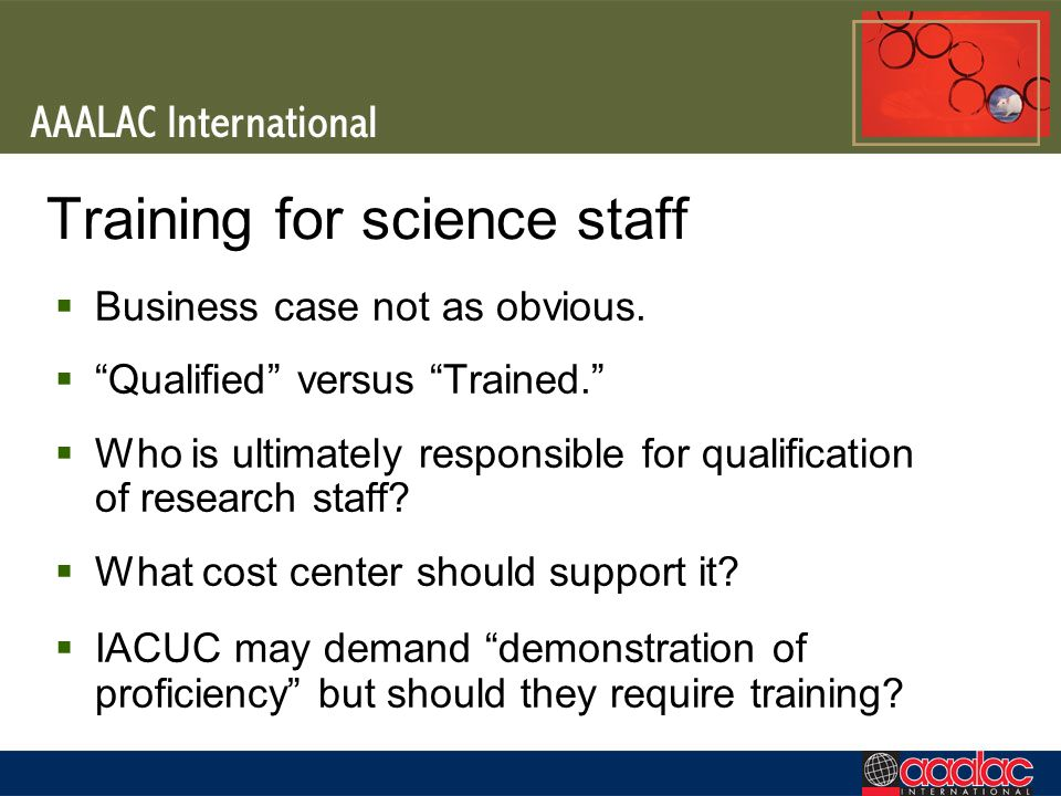 Training for science staff