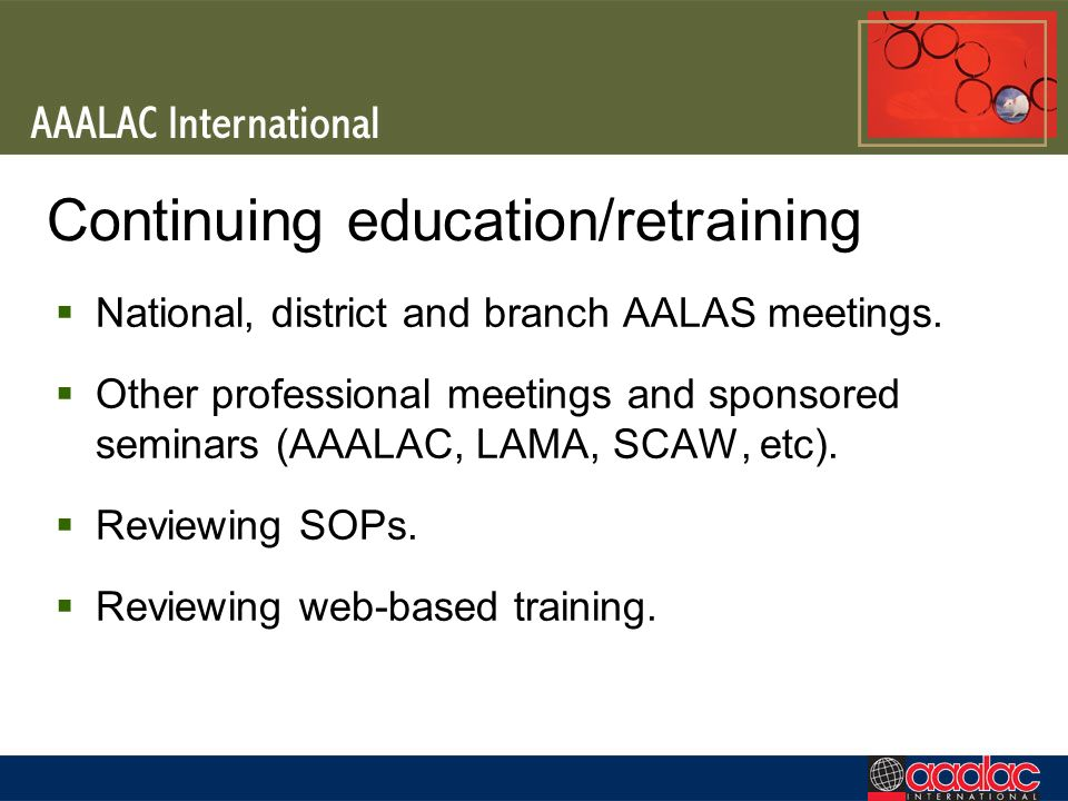Continuing education/retraining