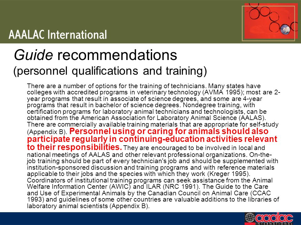 Guide recommendations (personnel qualifications and training)