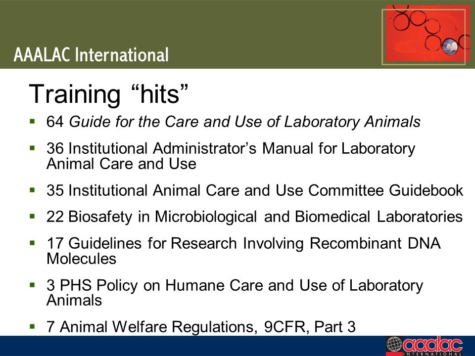 Training hits 64 Guide for the Care and Use of Laboratory Animals