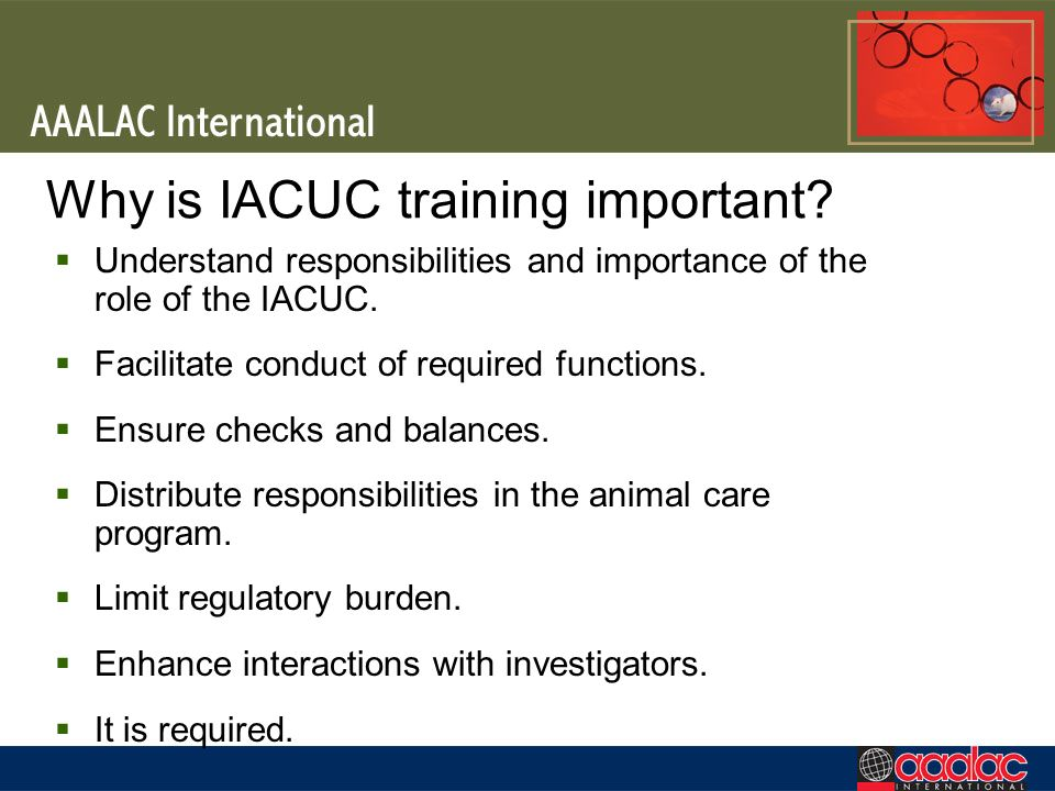 Why is IACUC training important