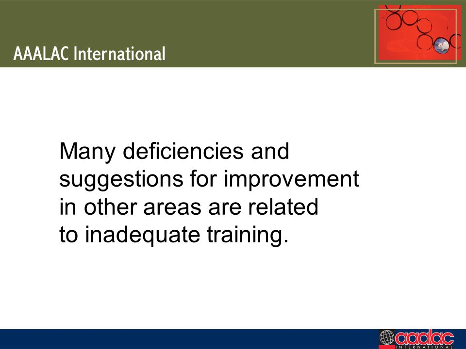 Many deficiencies and suggestions for improvement in other areas are related to inadequate training.