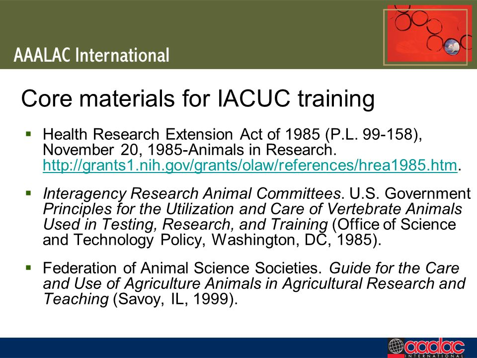 Core materials for IACUC training