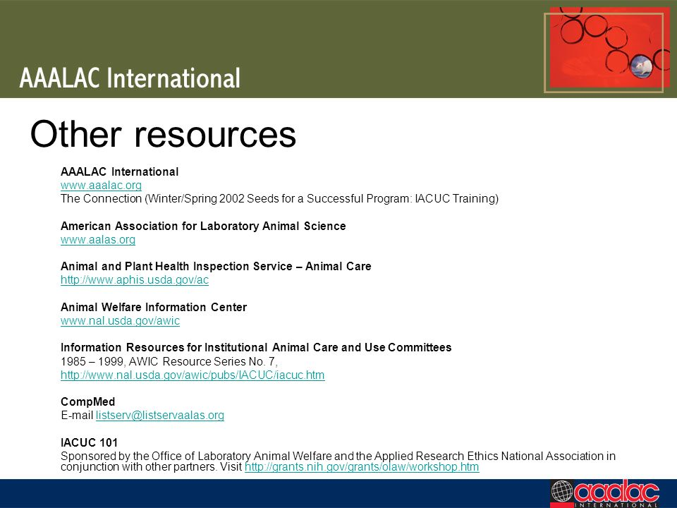 Other resources AAALAC International