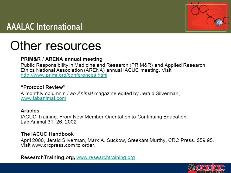 Other resources PRIM&R / ARENA annual meeting