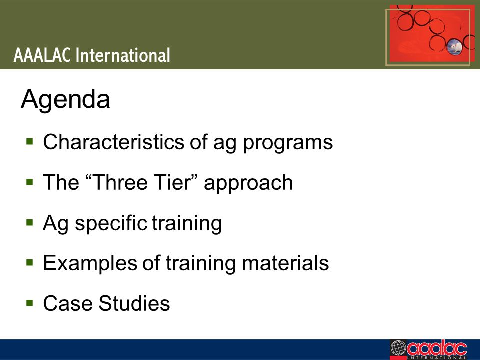 Agenda Characteristics of ag programs The Three Tier approach