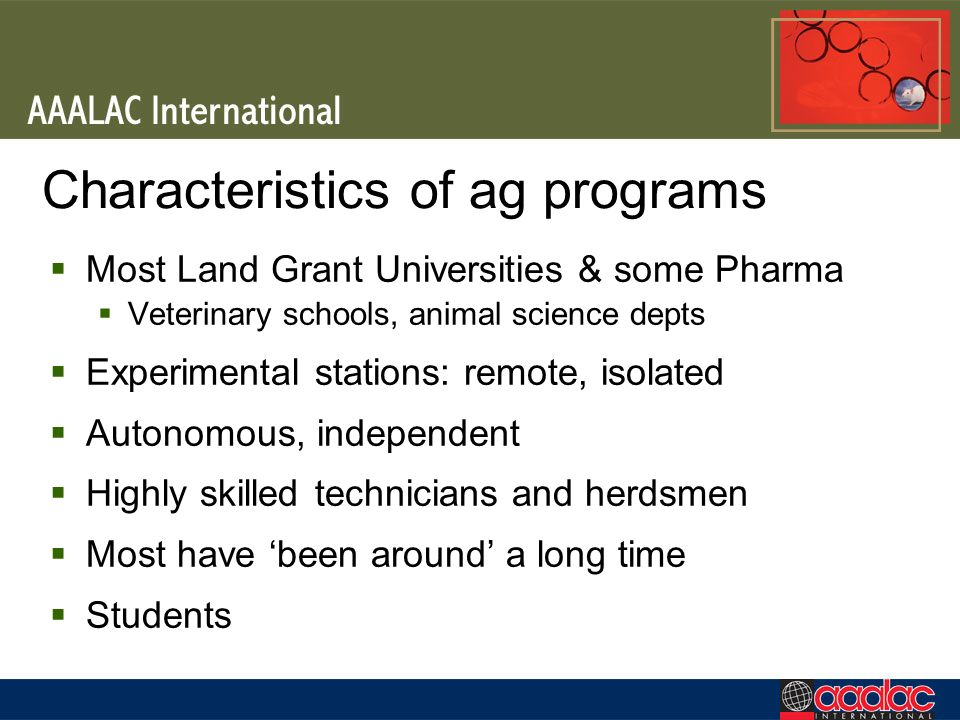 Characteristics of ag programs