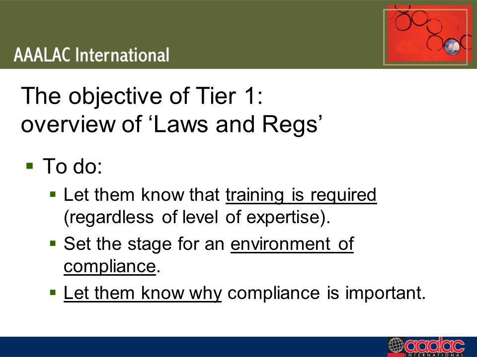 The objective of Tier 1: overview of 'Laws and Regs'