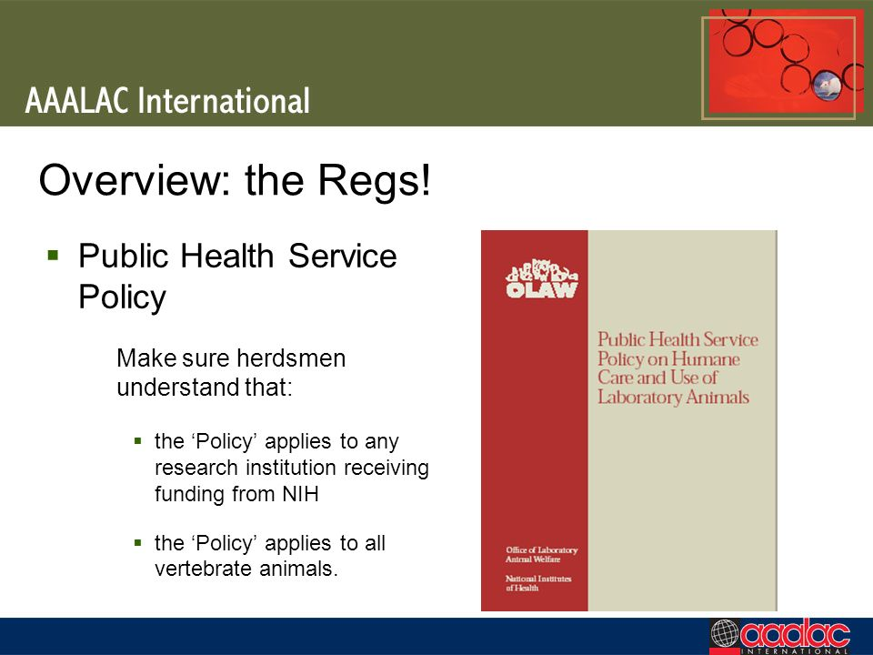 Overview: the Regs! Public Health Service Policy