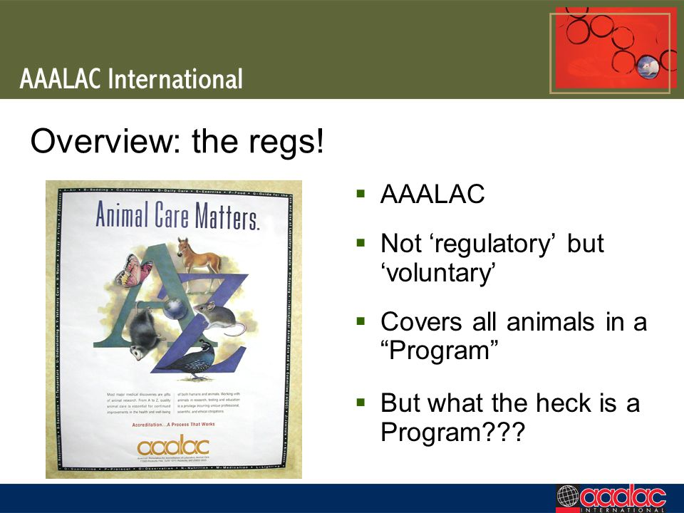 Overview: the regs! AAALAC Not 'regulatory' but 'voluntary'