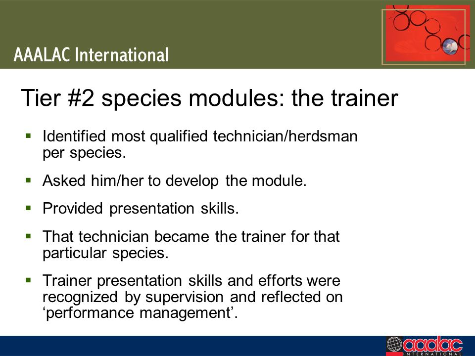 Tier #2 species modules: the trainer