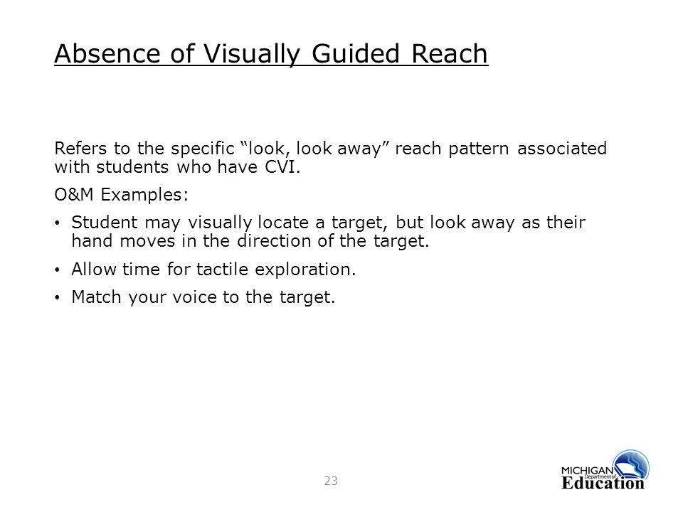 Absence of Visually Guided Reach