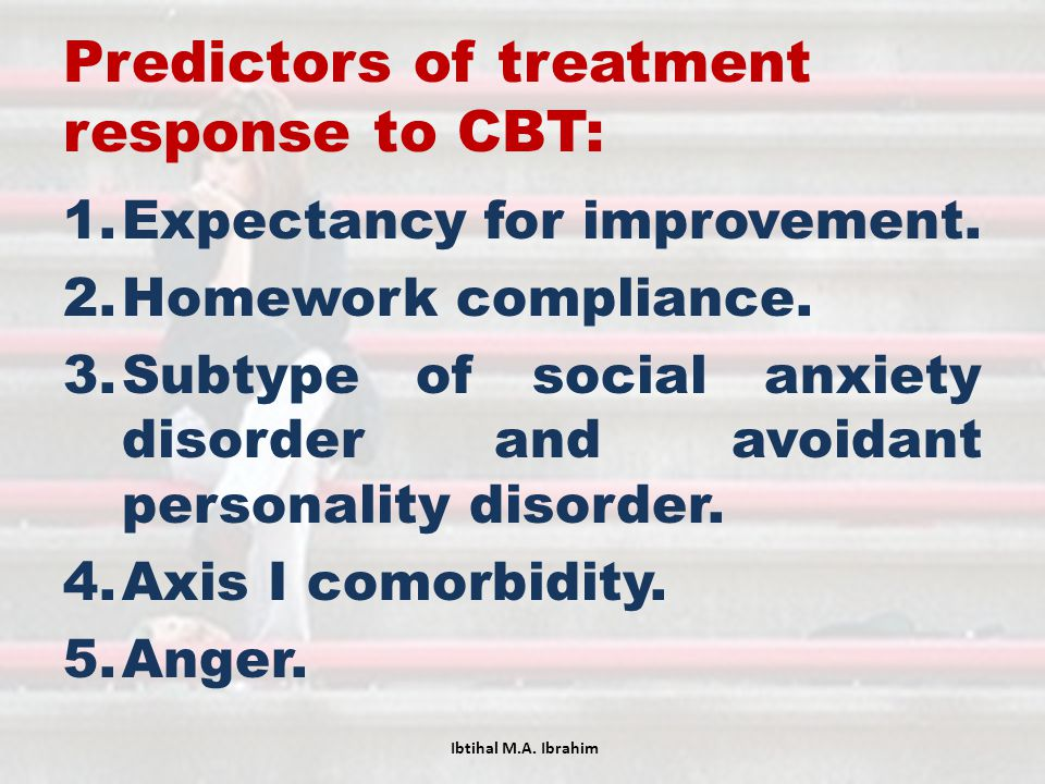 Predictors of treatment response to CBT:
