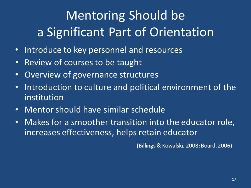 Mentoring Should be a Significant Part of Orientation