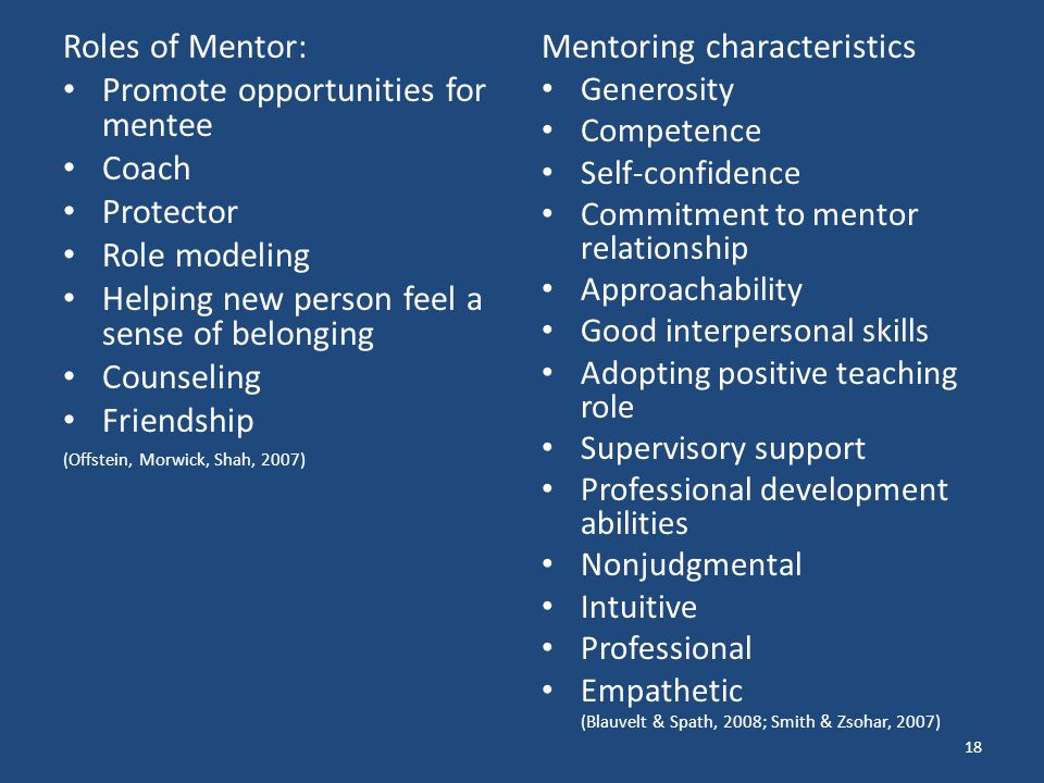 Promote opportunities for mentee Coach Protector Role modeling