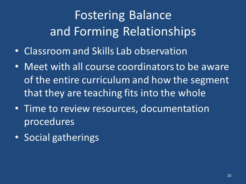 Fostering Balance and Forming Relationships