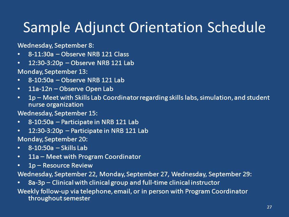 Sample Adjunct Orientation Schedule