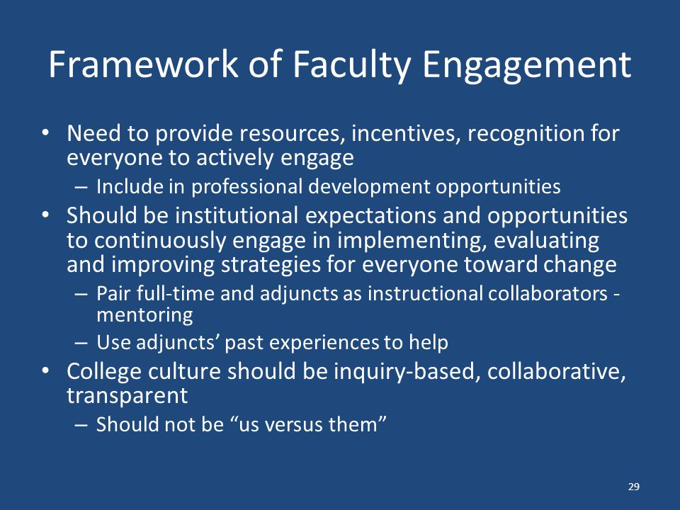 Framework of Faculty Engagement