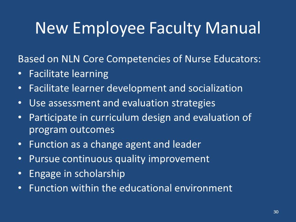 New Employee Faculty Manual