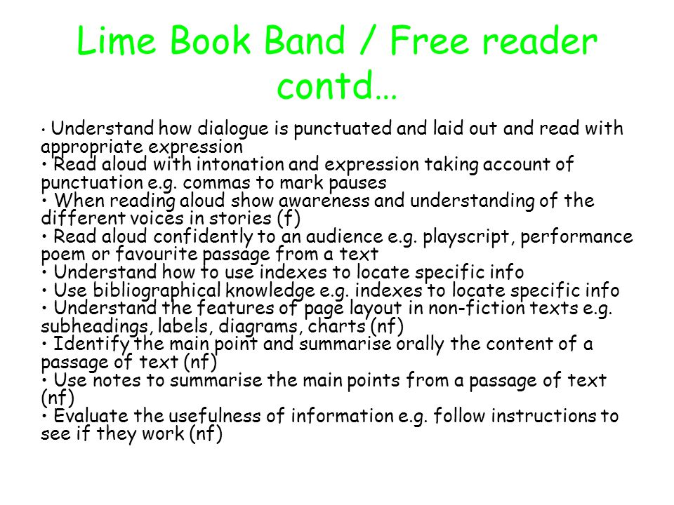Lime Book Band / Free reader contd…