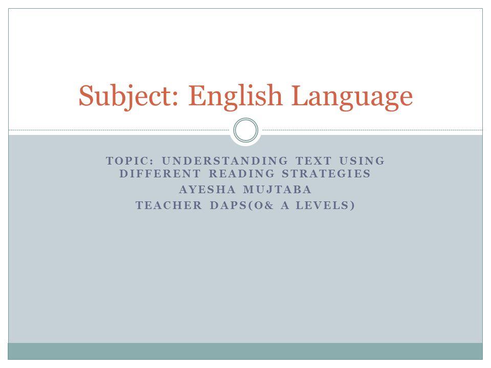 Subject: English Language