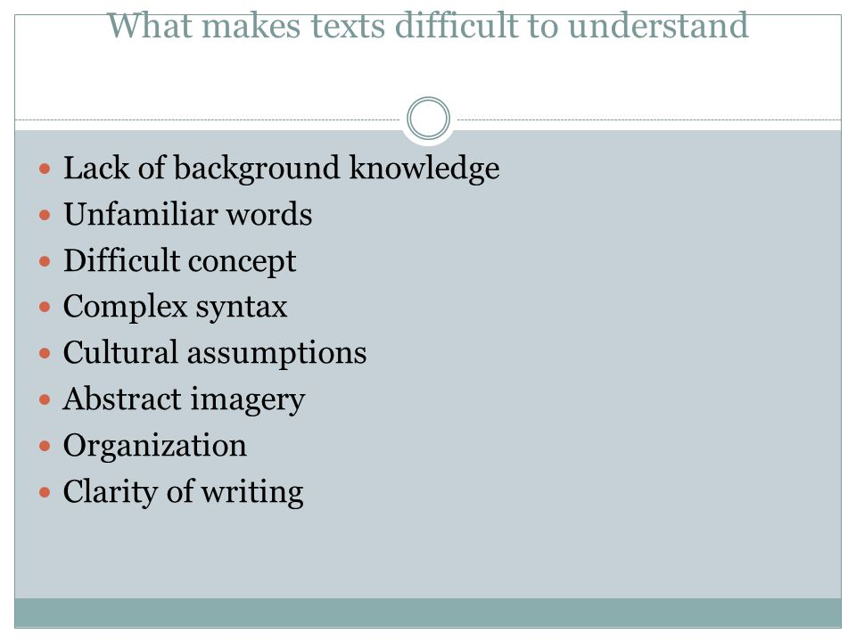 What makes texts difficult to understand