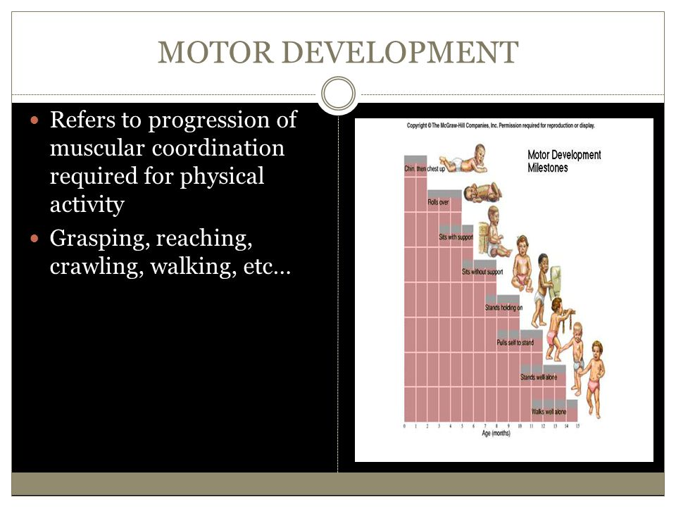 MOTOR DEVELOPMENT Refers to progression of muscular coordination required for physical activity.