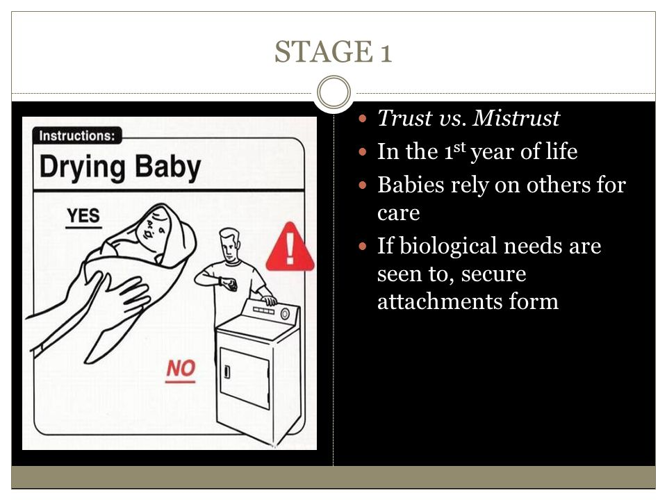 STAGE 1 Trust vs. Mistrust In the 1st year of life