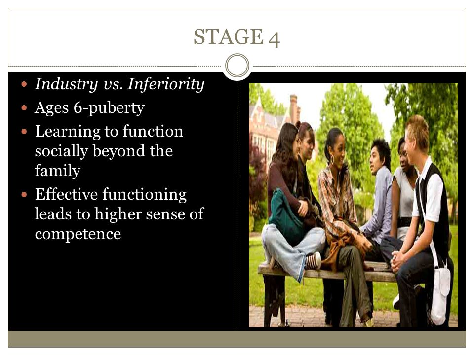 STAGE 4 Industry vs. Inferiority Ages 6-puberty