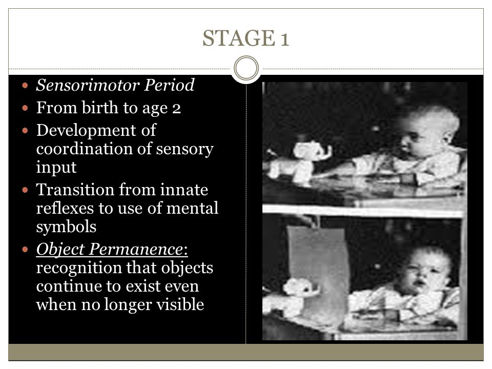 STAGE 1 Sensorimotor Period From birth to age 2