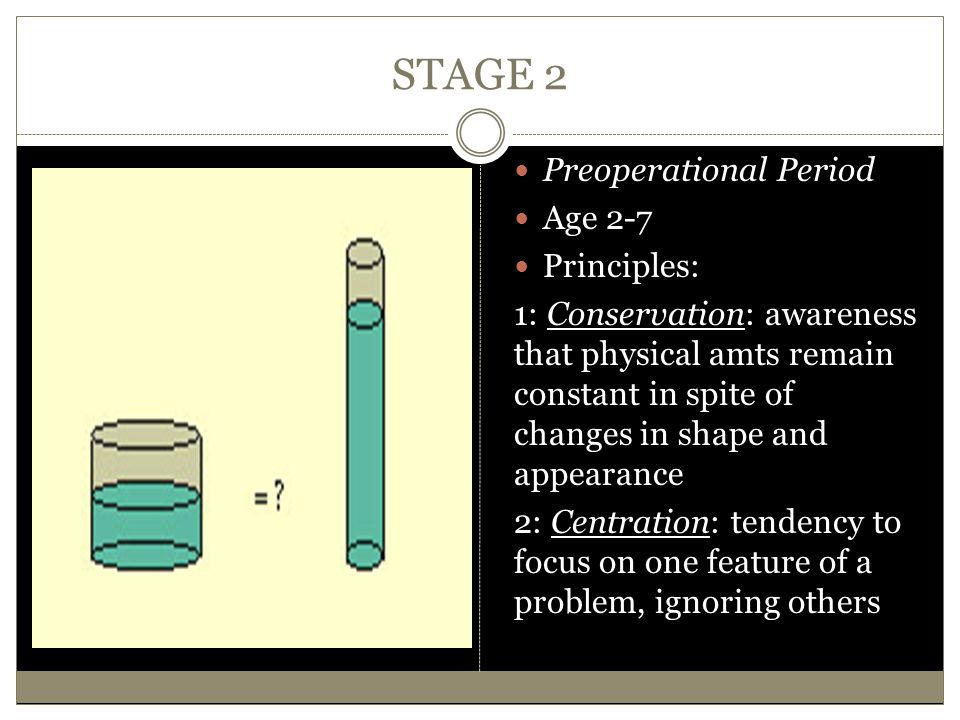 STAGE 2 Preoperational Period Age 2-7 Principles: