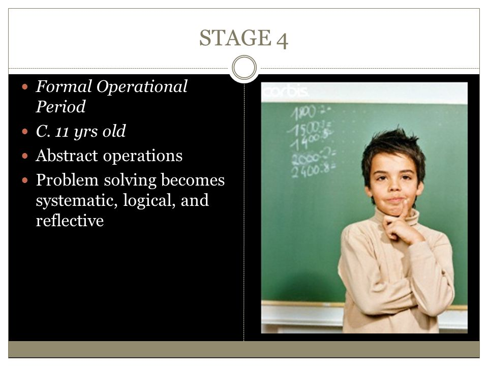 STAGE 4 Formal Operational Period C. 11 yrs old Abstract operations