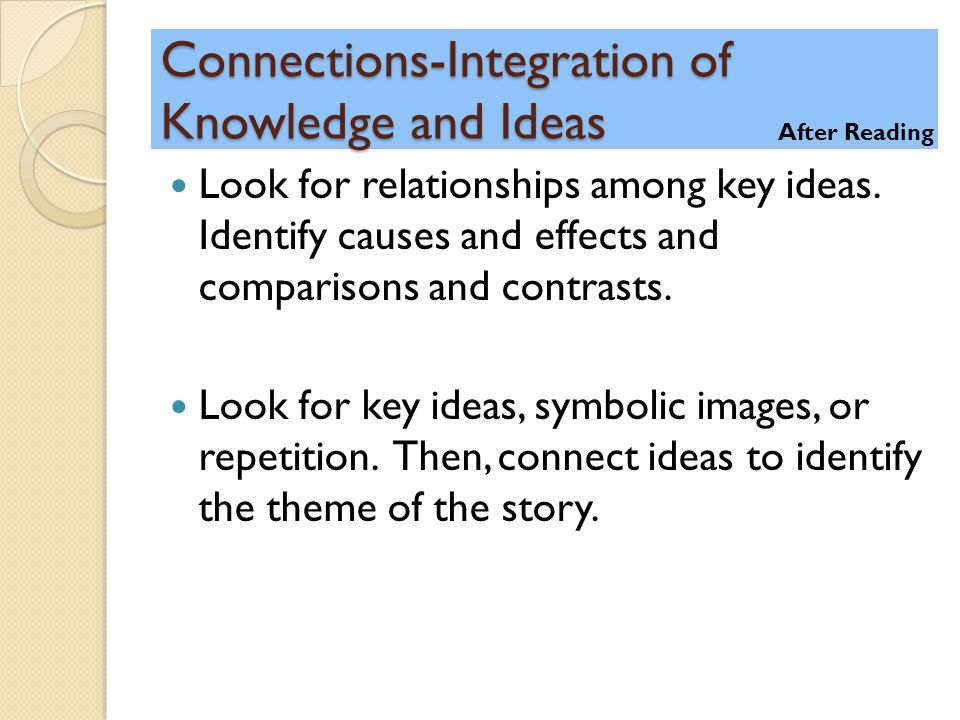 Connections-Integration of Knowledge and Ideas