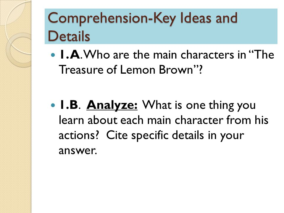 Comprehension-Key Ideas and Details