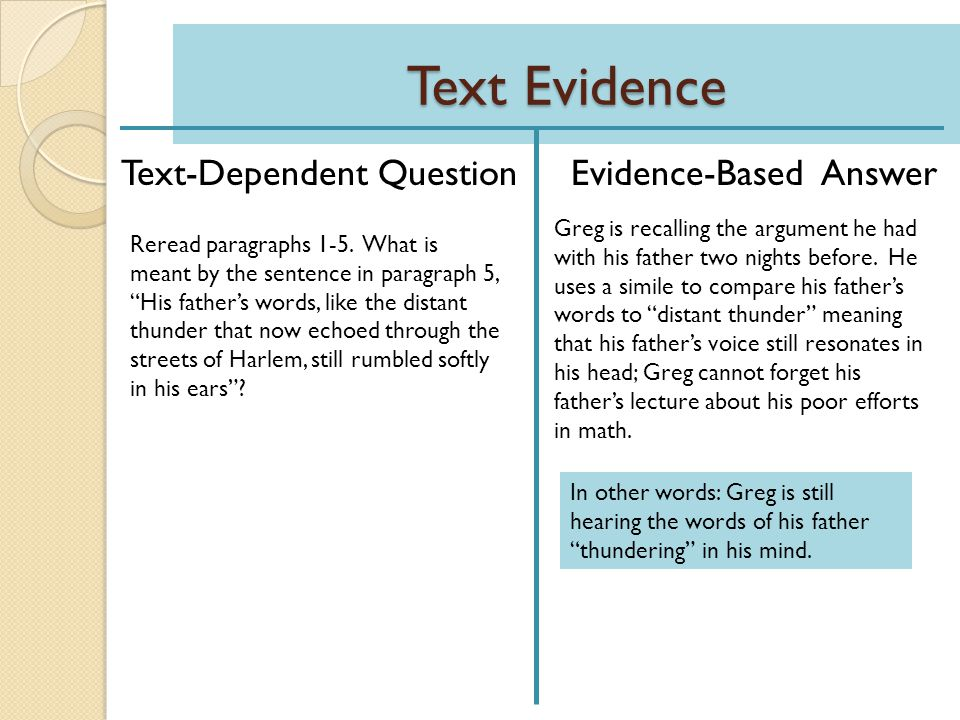 Text Evidence Text-Dependent Question Evidence-Based Answer