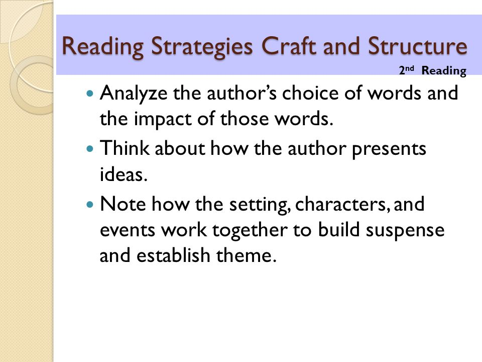 Reading Strategies Craft and Structure