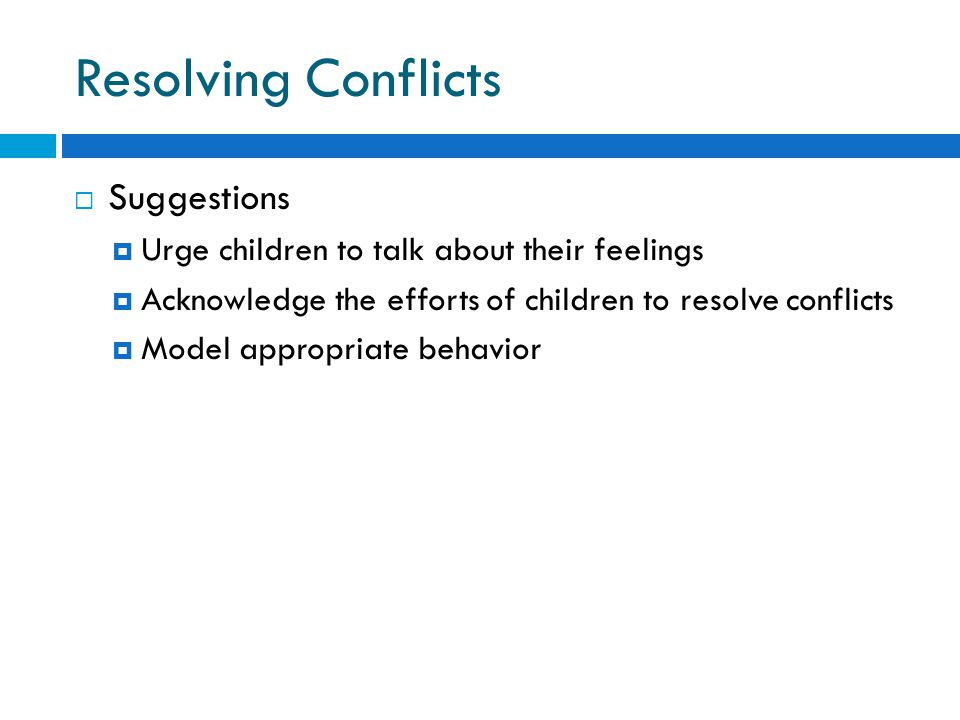 Resolving Conflicts Suggestions