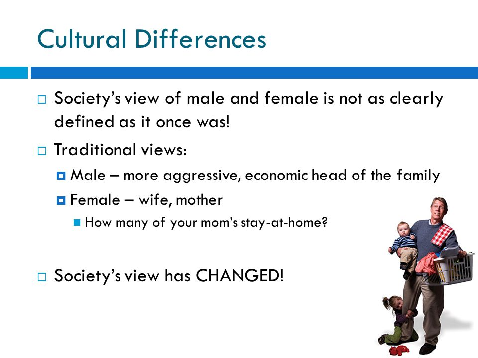 Cultural Differences Society's view of male and female is not as clearly defined as it once was! Traditional views: