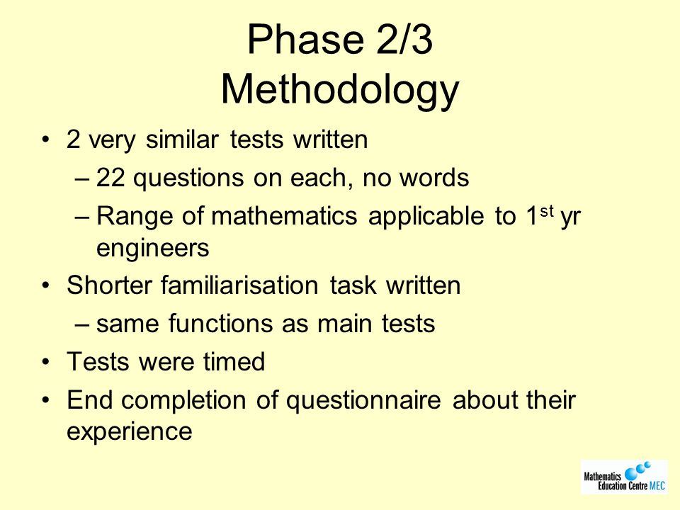 Phase 2/3 Methodology 2 very similar tests written
