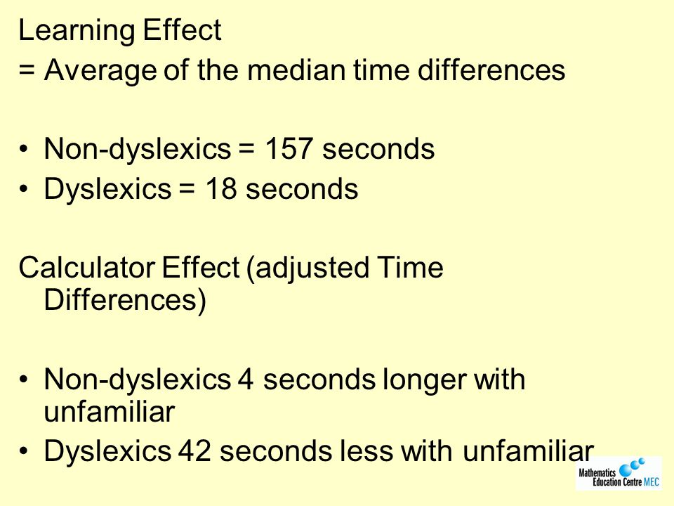 Learning Effect = Average of the median time differences. Non-dyslexics = 157 seconds. Dyslexics = 18 seconds.