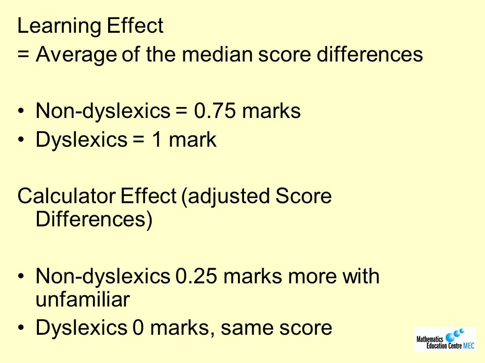 Learning Effect = Average of the median score differences. Non-dyslexics = 0.75 marks. Dyslexics = 1 mark.