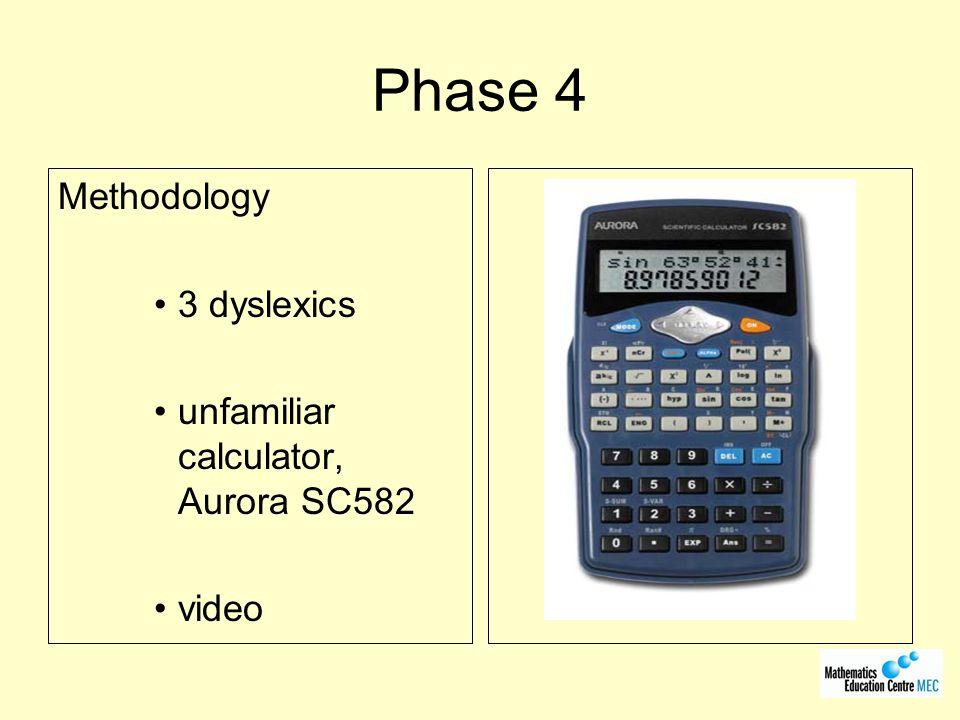 Phase 4 Methodology 3 dyslexics unfamiliar calculator, Aurora SC582