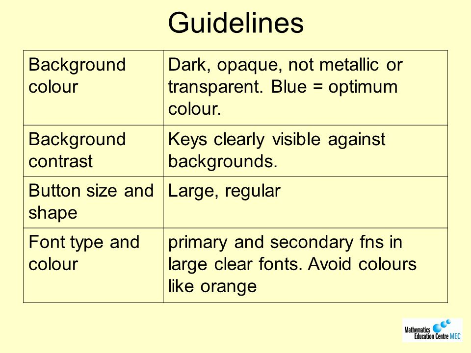 Guidelines Background colour