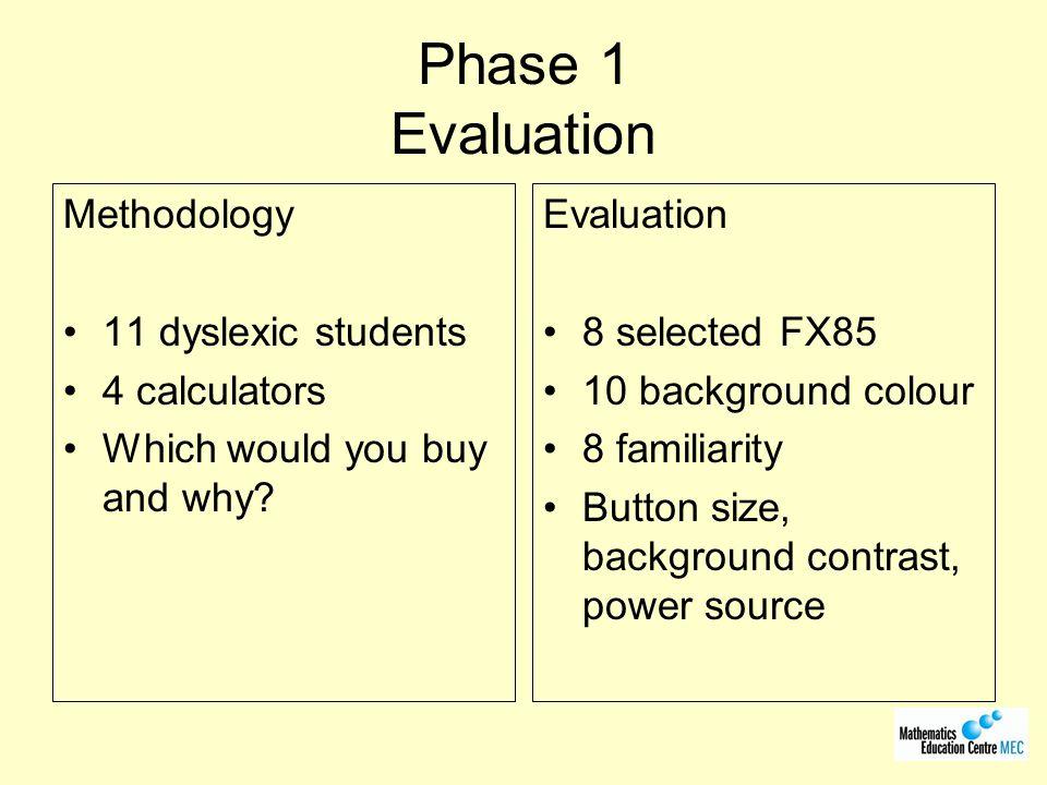 Phase 1 Evaluation Methodology 11 dyslexic students 4 calculators