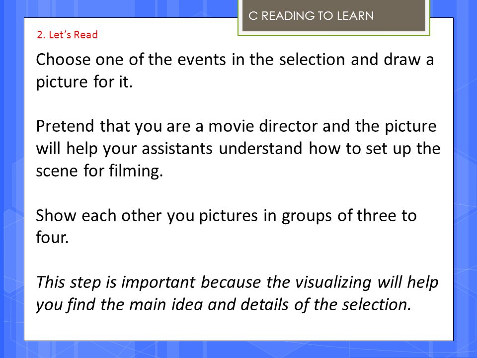 Choose one of the events in the selection and draw a picture for it.