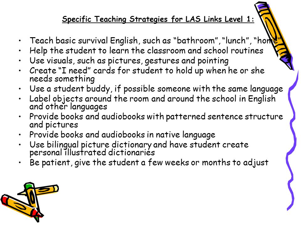 Specific Teaching Strategies for LAS Links Level 1: